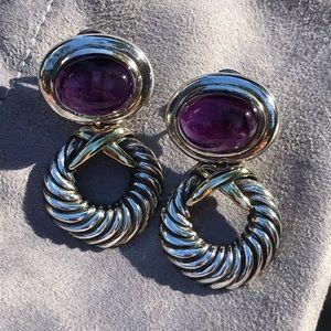 Vintage David Yurman Amethyst Silver/14K earrings